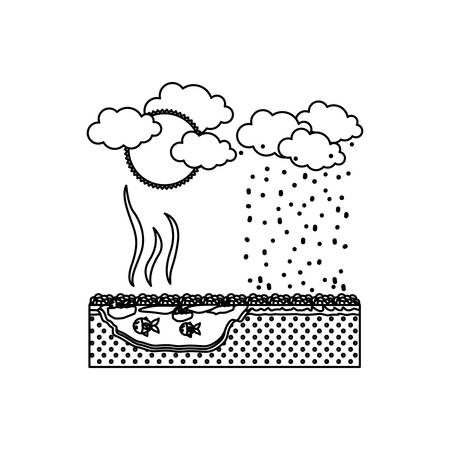 hazardous waste: Dirty lake icon. Pollution environment and ecology  theme. Isolated design. Vector illustration