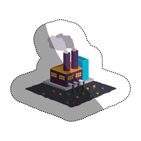 Factory icon. Pollution environment and ecology  theme. Isolated design. Vector illustration