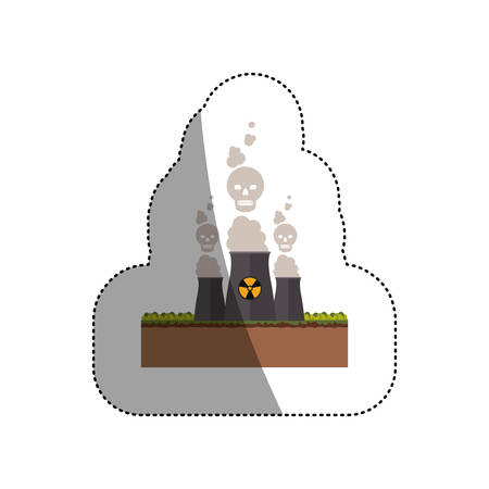 vector nuclear: Biohazard chimney icon. Nuclear plant power energy and pollution theme. Isolated design. Vector illustration