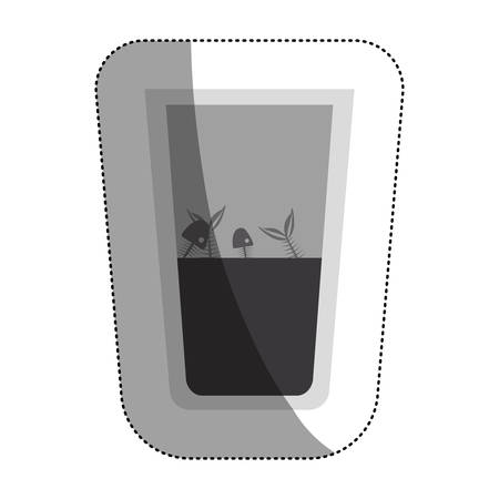 hazardous to the environment: Fish inside dirty water glass icon. Pollution environment and ecology  theme. Isolated design. Vector illustration