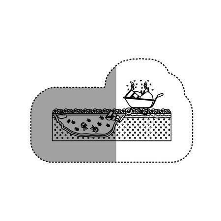 hazardous to the environment: Wheelbarrow icon. Pollution environment and ecology  theme. Isolated design. Vector illustration Illustration