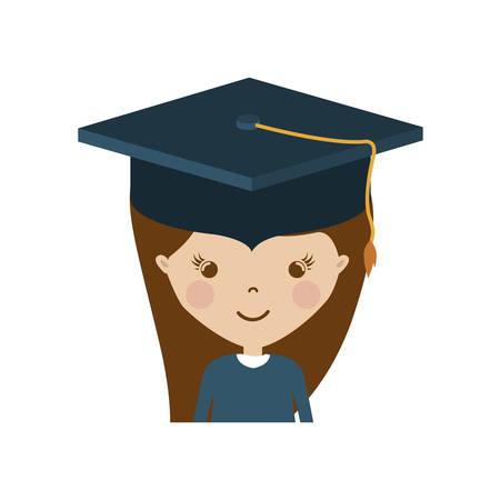 Girl with graduation cap icon. University education and school theme. Isolated design. Vector illustration Illustration