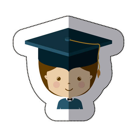 Boy with graduation cap icon. University education and school theme. Isolated design. Vector illustration