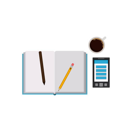 directory: Agend pencils smartphone and coffee mug icon. Notebook book directory and information theme. Isolated design. Vector illustration Illustration