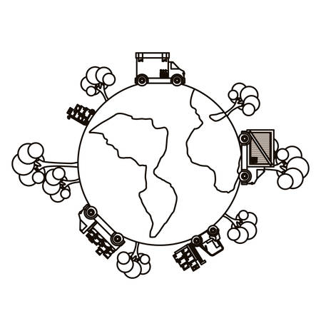 Planet truck and trees icon. Delivery shipping logistics and transportation theme. Isolated design. Vector illustration