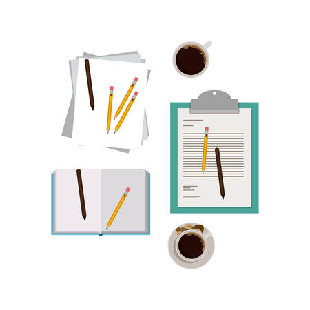 Document coffee mug and pencil icon. Paper data archive and office theme. Isolated design. Vector illustration