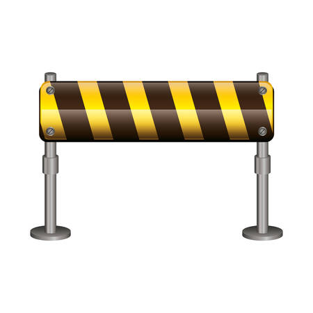 vector sign under construction: Barrier road sign icon. Under construction work repair and progress theme. Isolated design. Vector illustration Illustration