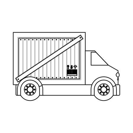 silhouette contour: black silhouette contour transport truck with vagon vector illustration Illustration