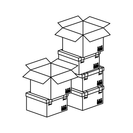 shipper: black silhouette contour boxes stacked and some opened vector illustration Illustration