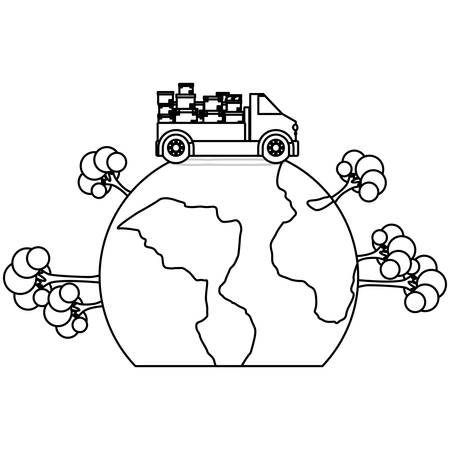 black silhouette contour transport truck with boxes over the planet vector illustration Illustration