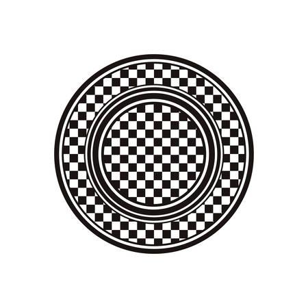 motorizado: Premio plato monocromo con carreras de ilustración de vector de diseño de fondo