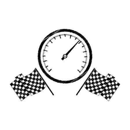 speedometer award in monochrome striped with racing flags vector illustration Illustration