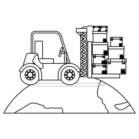 truckload: black silhouette contour forklift truck with forks with boxes over the planet vector illustration