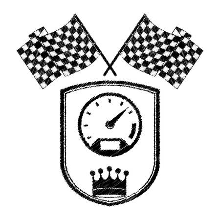 racing speedometer award in monochrome striped with flags and crown vector illustration