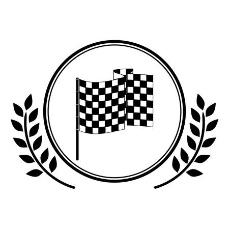 racing flag award in monochrome with olive branch vector illustration Illustration