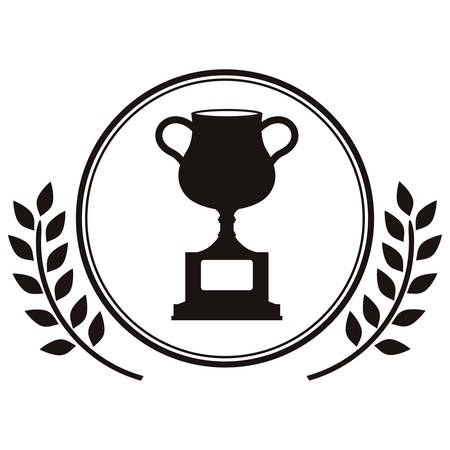 monochrome trophy cup with olive branch vector illustration