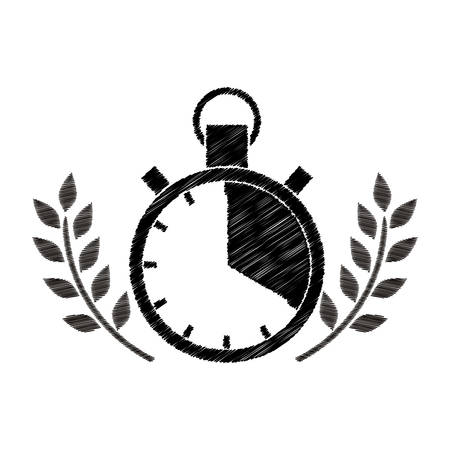 chronometer prize in monochrome striped with olive branch vector illustration Illustration