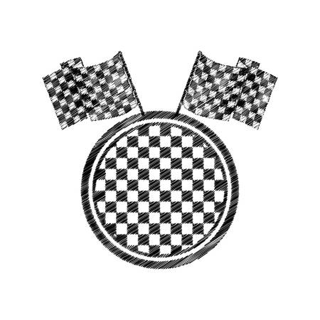 striped prize monochrome dish with square pattern and flags vector illustration Illustration