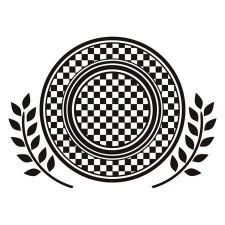 award monochrome dish with racing background design and olive branch vector illustration