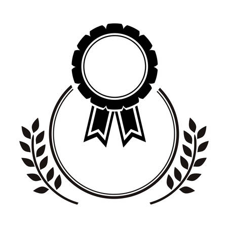 medal award in monochrome with olive branch vector illustration Illustration