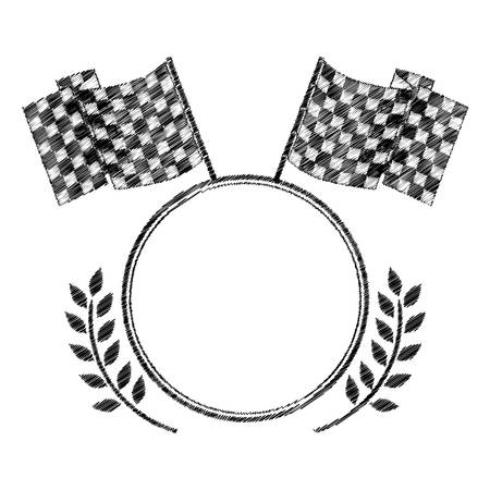 award monochrome to striped of racing flags and olive branch vector illustration Illustration