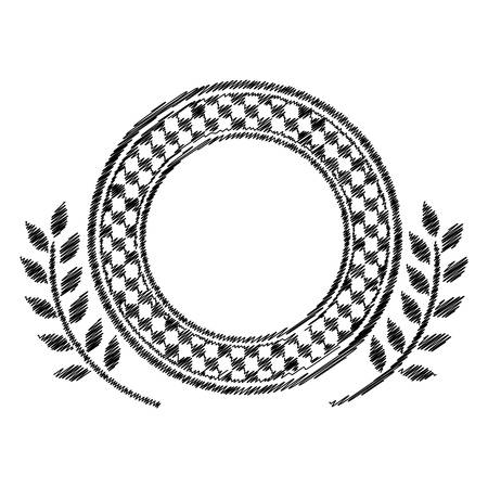 award monochrome dish striped with contour chekered and olive branch vector illustration Illustration