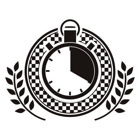 chronometer prize in monochrome with olive branch vector illustration