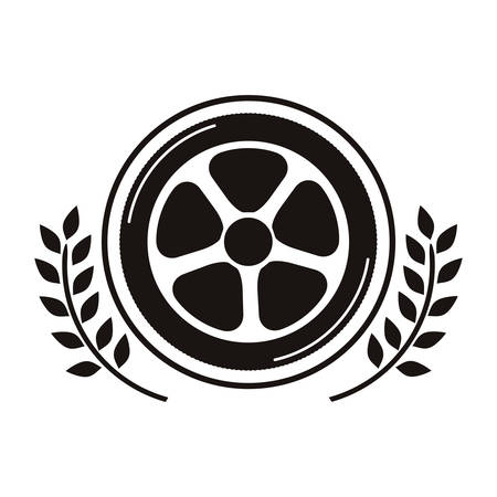 car wheel award in monochrome with olive branch vector illustration Illustration
