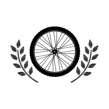 motorcycle wheel award in monochrome striped with olive branch vector illustration