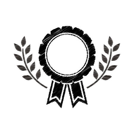 medal award in monochrome striped with olive branch vector illustration