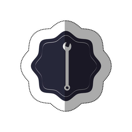 middle shadow sticker with wrench in frame vector illustration