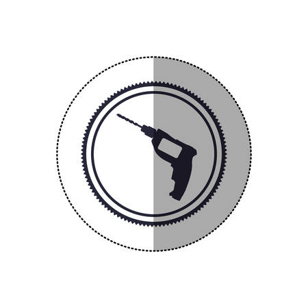 drilled: middle shadow sticker with circular frame with drill tool vector illustration