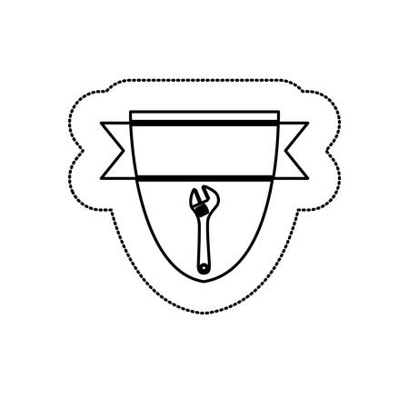 monochrome silhouette sticker with shield frame with wrench vector illustration Illustration