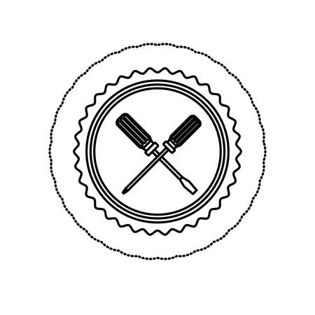 monochrome silhouette sticker with circular frame with crossed screwdrivers vector illustration Illustration