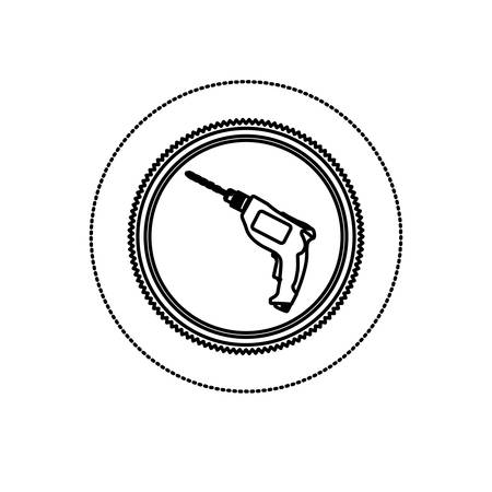 drilled: monochrome silhouette sticker with circular frame with drill tool vector illustration Illustration
