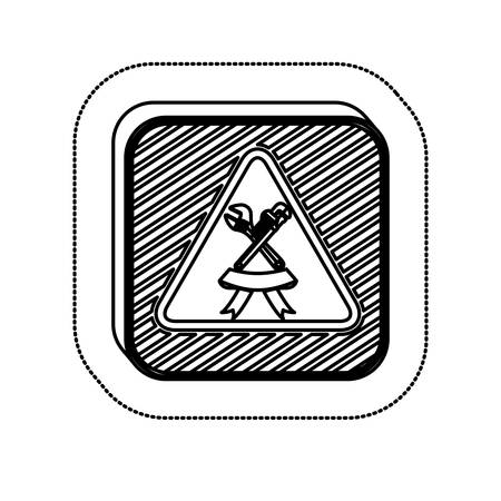 sticker monochrome square with wrenches and ribbon vector illustration