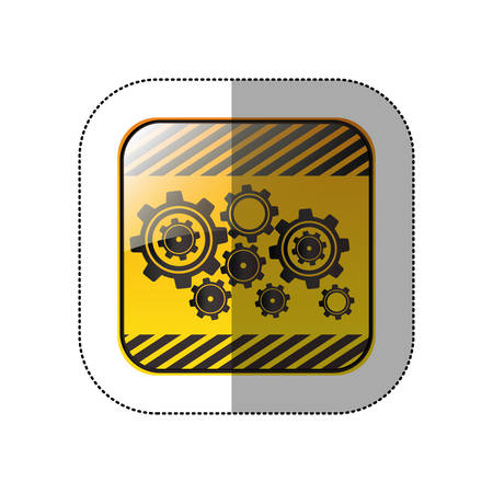 middle shadow sticker in yellow square with gear wheel vector illustration