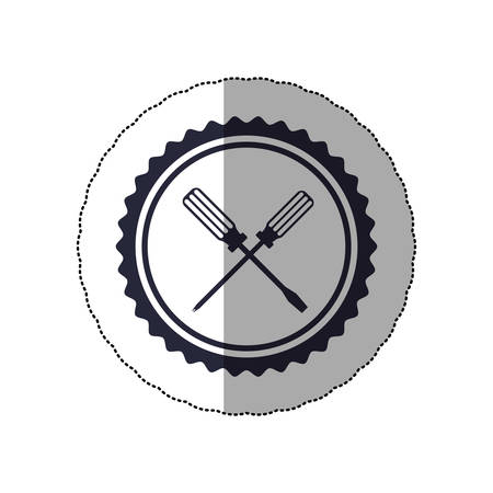 middle shadow sticker with circular frame with crossed screwdrivers vector illustration