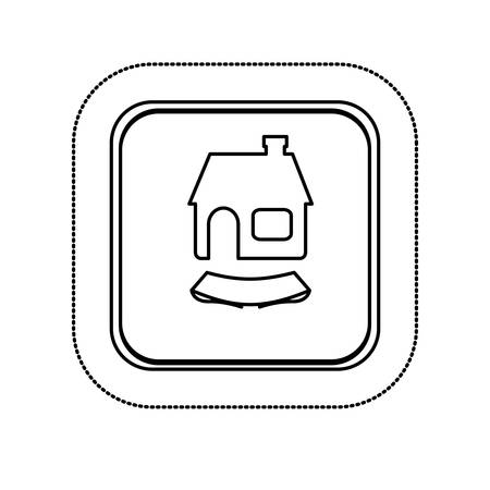 penthouse: sticker monochrome silhouette square with house and ribbon vector illustration
