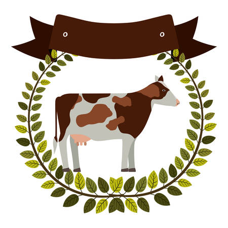 colorful olive crown and ribbon with cow vector illustration
