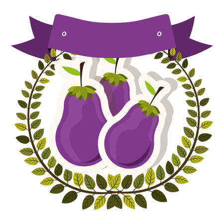 colorful olive crown and label with eggplant with shadow vector illustration