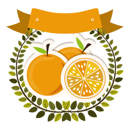 colorful olive crown and label with oranges with shadow vector illustration