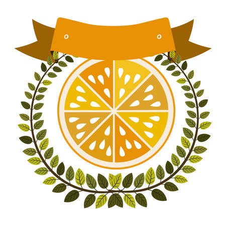 colorful olive crown and label with half orange fruit vector illustration