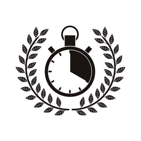monochrome timer award between olive branch vector illustration