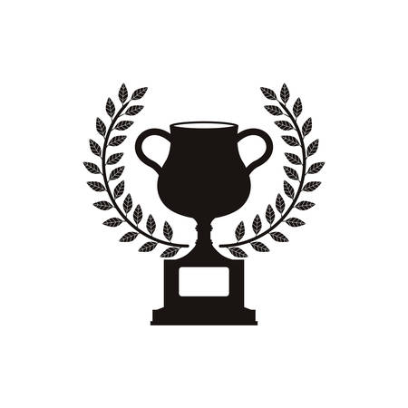 monochrome trophy cup with olive crown vector illustration