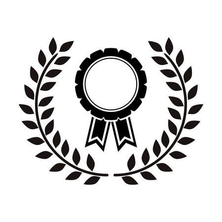 monochrome medal between olive branch vector illustration