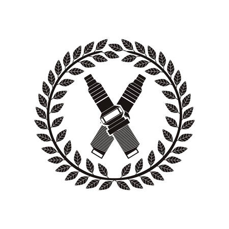 monochrome spark plug award between olive crown vector illustration