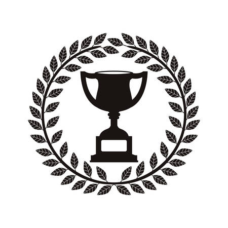 monochrome trophy cup between olive crown vector illustration