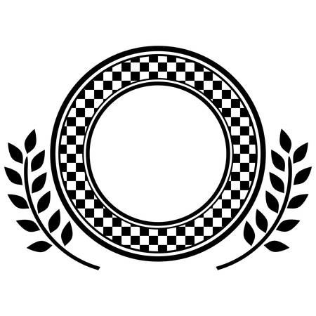 award monochrome dish with contour chekered and olive branch vector illustration