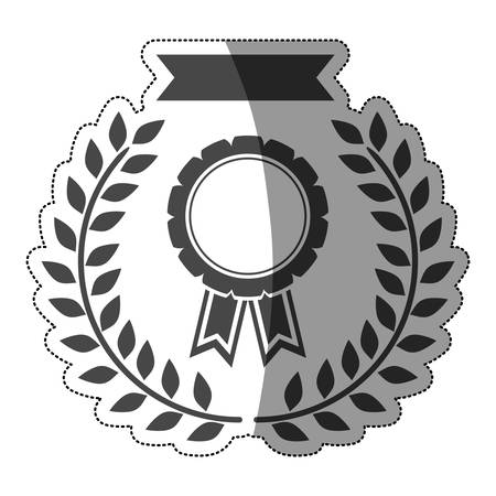sticker medal in monochrome with ribbon and olive crown with half shaded vector illustration Illustration
